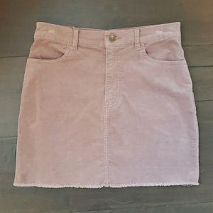 Taupe velour stretch mini skirt